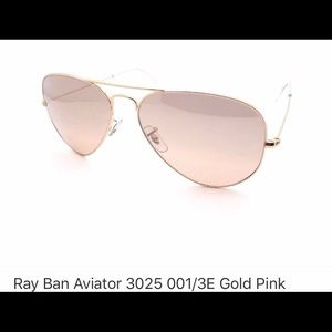 Auth. Rayban Aviators 3025-large gold w/rose lens